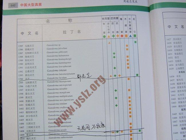 《中国大型真菌》用途表